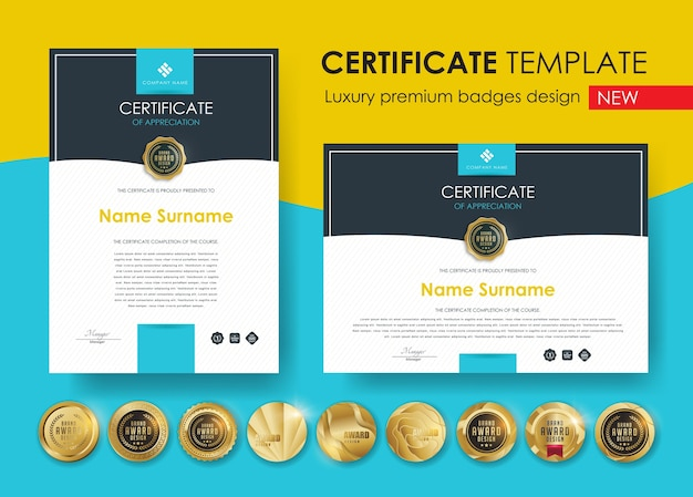 Modello di certificato con design di badge di lusso e premium