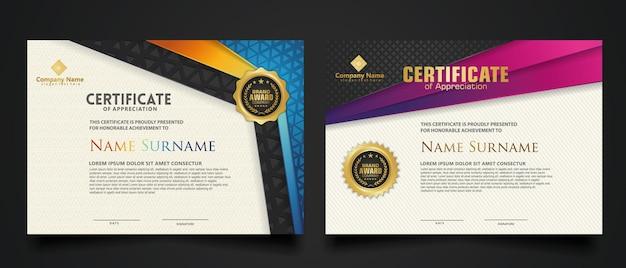 Modello di certificato con motivo a trama realistica di lusso