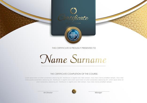 Modello di certificato con stile di lusso