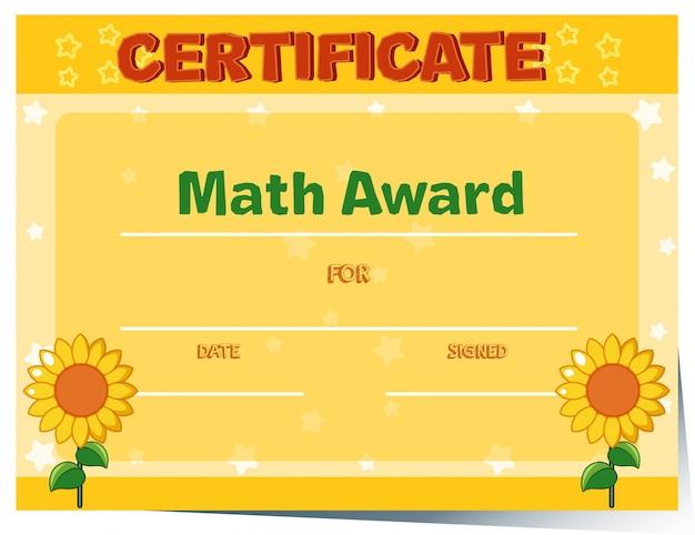 Modello di certificato con girasoli in background