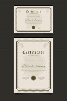 Modelli di certificato con cornice ornamentale in stile vintage