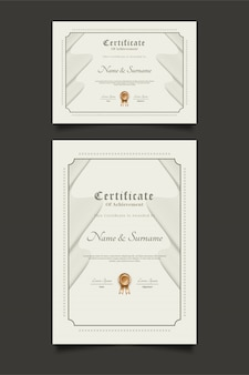 Modelli di certificato con ornamenti wave in stile classico