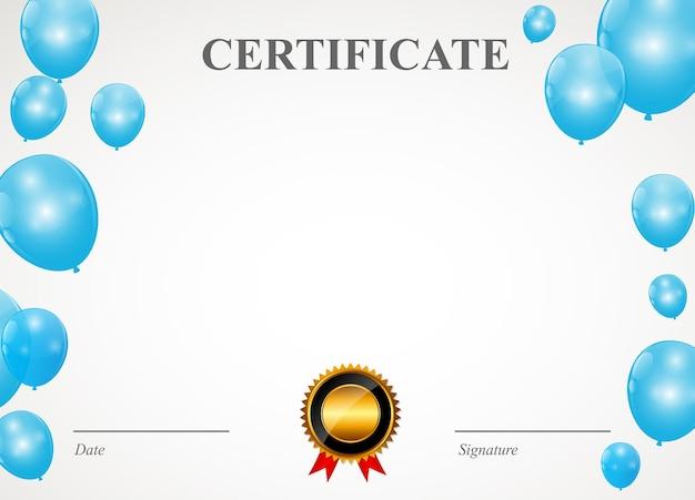 Certificato con illustrazione vettoriale modello di palloncini