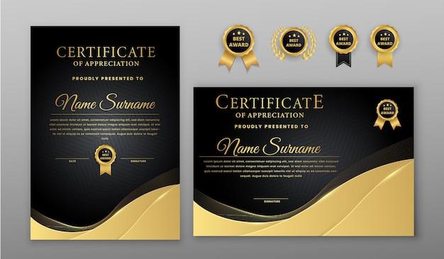 Certificato con badge oro e nero e modello di bordo
