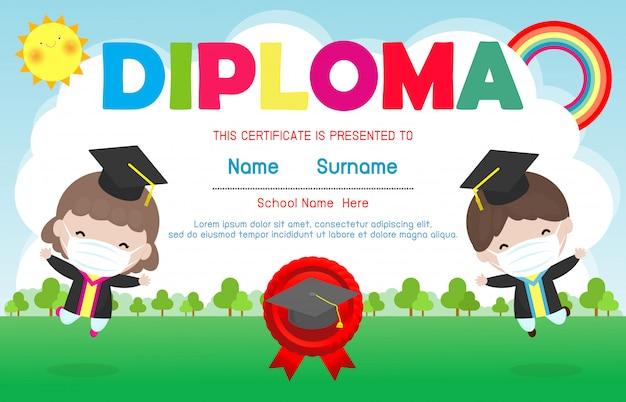 Certificati scuola materna ed elementare, modello di progettazione del fondo del certificato del diploma dei bambini in età prescolare, bambini svegli che indossano maschera per prevenire coronavirus 2019 ncov o covid-19, illustrazione