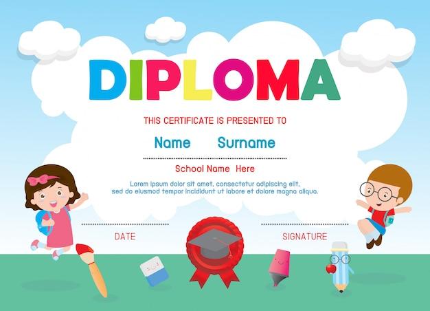 Certificati scuola materna ed elementare, modello di progettazione del fondo del certificato del diploma dei bambini in età prescolare, modello del diploma per gli studenti di asilo, certificato del diploma dei bambini, illustrazione