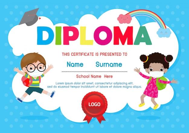 Certificati scuola materna ed elementare, certificato diploma per bambini in età prescolare