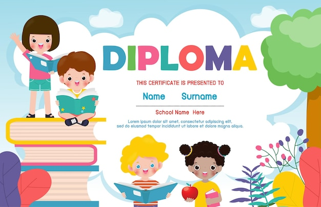 Certificati scuola materna ed elementare, certificato di diploma per bambini in età prescolare