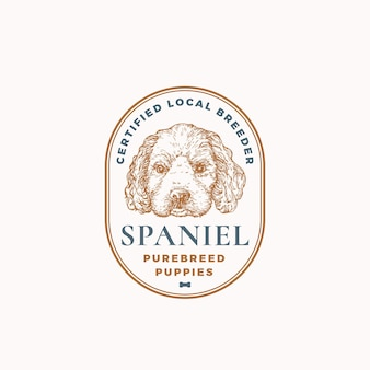 Distintivo del telaio dell'allevatore di cani certificato o modello di logo disegnato a mano spaniel cucciolo faccia schizzo con retro t...