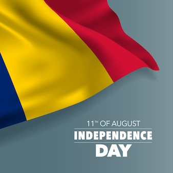 Ciad felice giorno dell'indipendenza biglietto di auguri banner illustrazione vettoriale