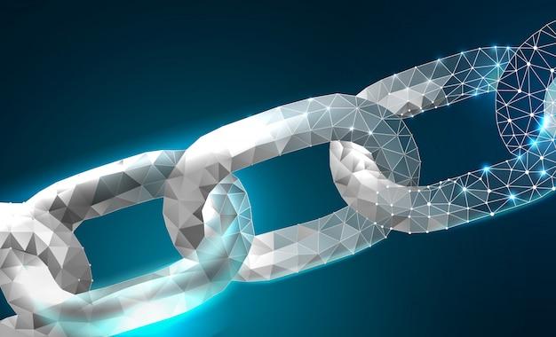 Chain blockchain link sign catena di tecnologia internet low poly design