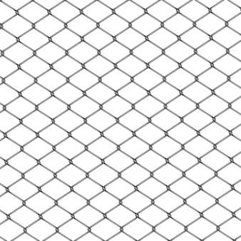 Recinzione a catena. realistico recinto di filo metallico isolato su sfondo bianco.