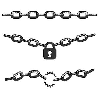 Set catena e lucchetto isolato su uno sfondo bianco.
