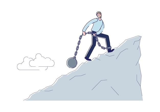 Uomo d'affari incatenato con pesante fardello in movimento verso l'alto del debito di crisi finanziaria