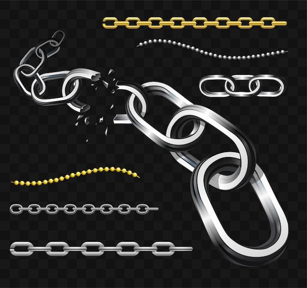Catene - clipart isolato realistico di vettore moderno su sfondo trasparente. set di maglie in argento lucido e dorato fissate o rotte. concetto di connessione