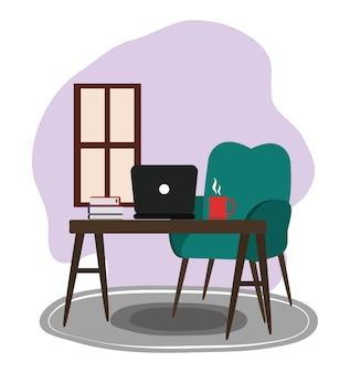 Sedia computer tabella libri tazza di caffè finestra fumetto illustrazione