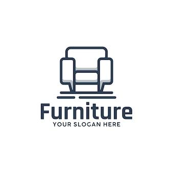 Modello di mobili per sedie, ispirazione per il design del logo