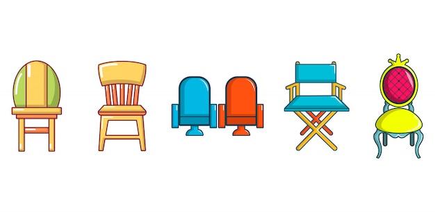 Set di icone di sedia. l'insieme del fumetto delle icone di vettore della sedia ha messo isolato