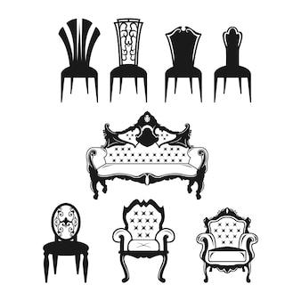 Set di icone di sedia. mobili da divano pieni di piatti.