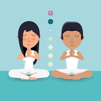 Chakra e coppia di cartoni animati che praticano yoga