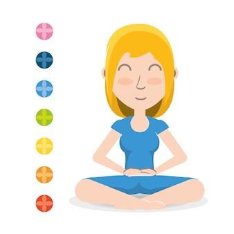 Chakra e donna dei cartoni animati che praticano yoga