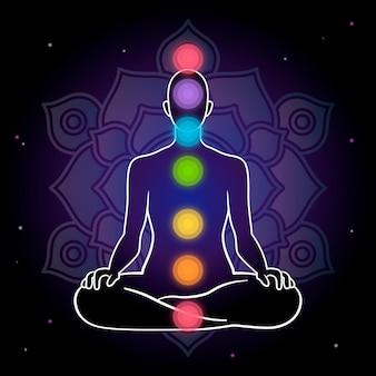 Concetto di chakra con sfondo scuro