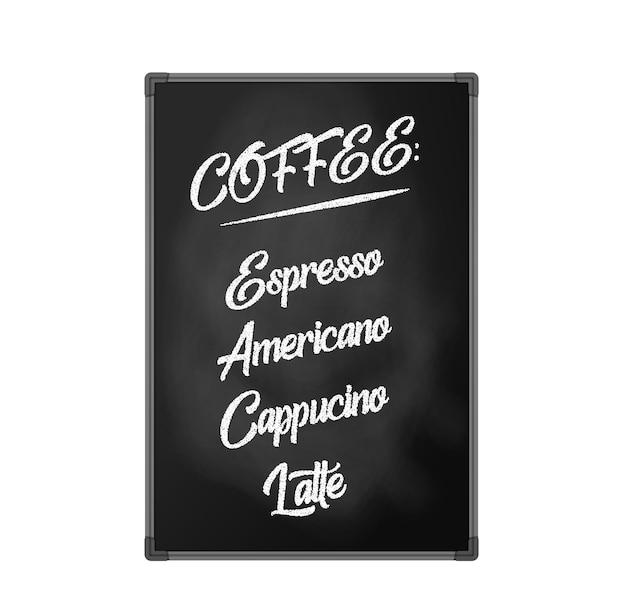 Lavagna, cartellone pubblicitario per bar, ristoranti e caffetterie. scritte per menù caffè, espresso, americano, cappuccino, latte. oggetto isolato, illustrazione vettoriale su sfondo bianco.