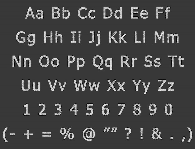 Il disegno della mano del gesso segna l'alfabeto inglese con lettere