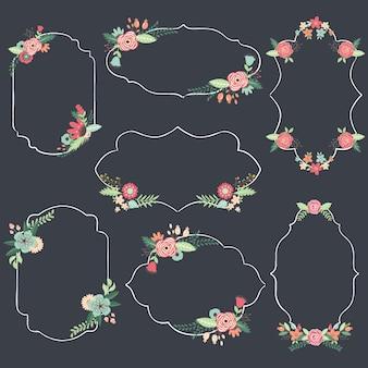Collezioni di cornice floreale lavagna