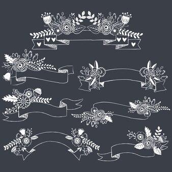 Set di collezioni di fiori di lavagna