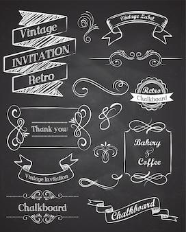 Elementi vintage disegnati a mano di lavagna