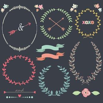 Chalkboard laurel wreath design elements