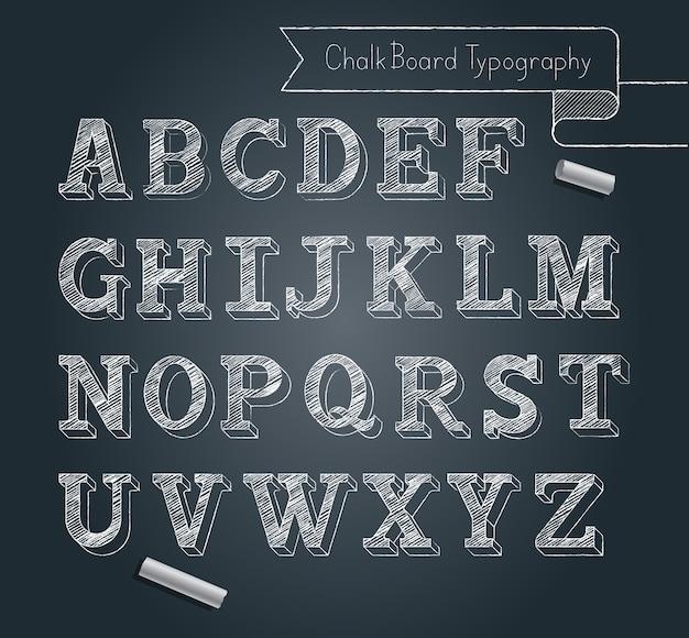 Stile di doodle di alfabeto di tipografia della lavagna