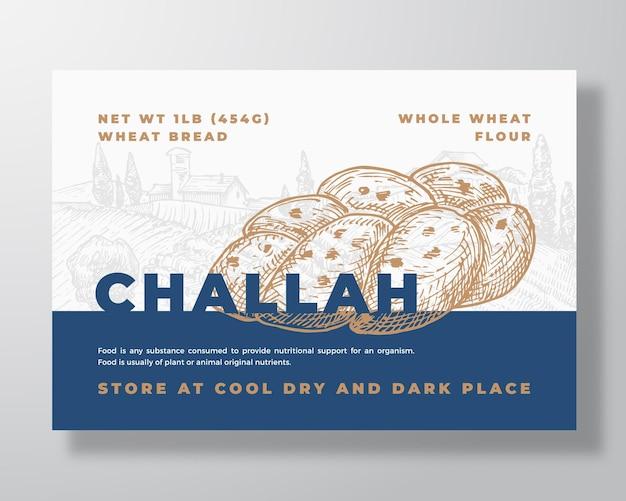 Modello di etichetta di pane challah