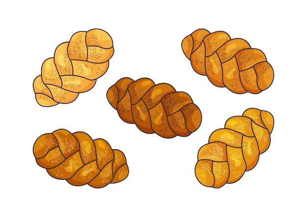 Insieme di vettore di challah icone di pagnotta intrecciata ebrea di festa pane di shabbat del fumetto illustrazione dell'alimento