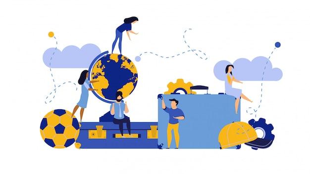 Sfida l'illustrazione di concetto dell'uomo e della donna di viaggio con la valigia