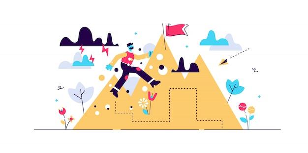 Sfida a non mollare mai per obiettivo, obiettivo e crescita. visualizzazione astratta del carattere di credenza, sforzo e ambizione. Vettore Premium