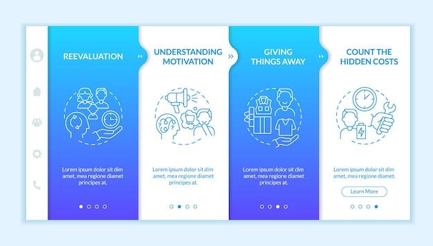 Sfidare il modello di vettore di onboarding sfumatura blu del consumismo. sito mobile reattivo con icone. procedura dettagliata della pagina web in 4 schermate. concetto di colore con illustrazioni lineari