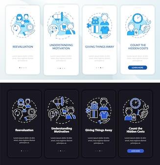 Sfidare il consumismo schermata della pagina dell'app mobile onboarding scura e chiara. istruzioni grafiche in 4 passaggi con concetti. modello vettoriale ui, ux, gui con illustrazioni lineari in modalità giorno e notte