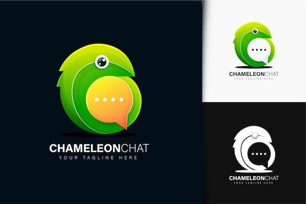 Chameleon chat logo design con gradiente