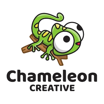 Logo carino creativo camaleonte