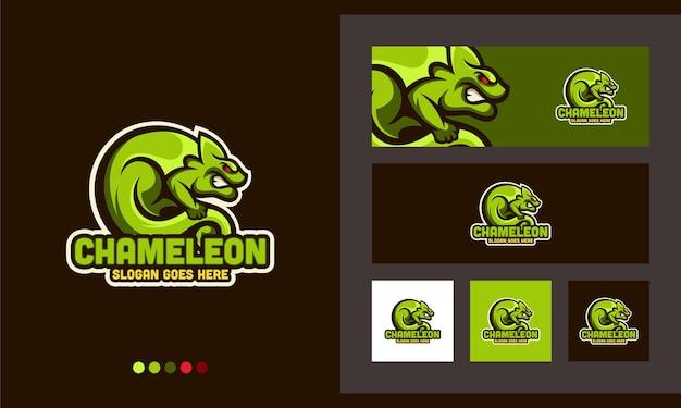 Camaleonte iguana gecko creative design logo modello