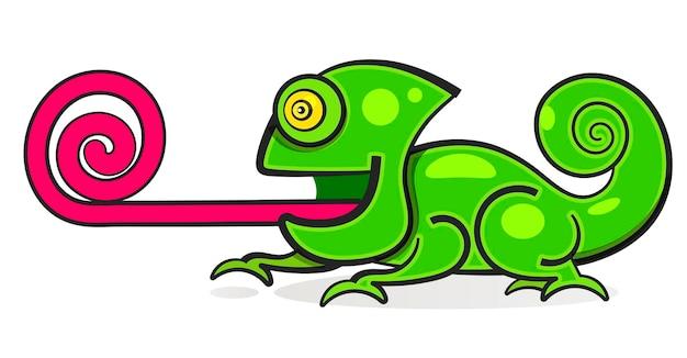 Illustrazione grafica del personaggio dei cartoni animati di colore dell'arcobaleno della lucertola del camaleonte