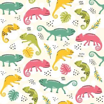 Camaleonti seamless pattern design