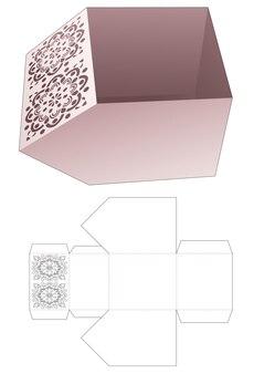 Scatola della ciotola smussata e modello fustellato di mandala stampato