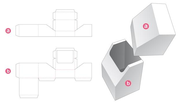 Scatola di cancelleria smussata con modello fustellato per coperchio