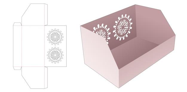 Scatola di cancelleria smussata con modello fustellato mandala stencil