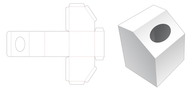 Modello fustellato per scatola di fazzoletti smussati