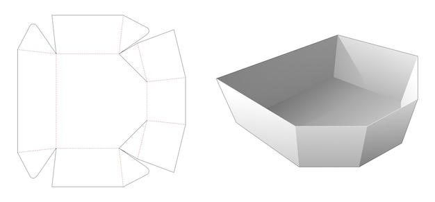 Modello fustellato per imballaggio vassoio smussato