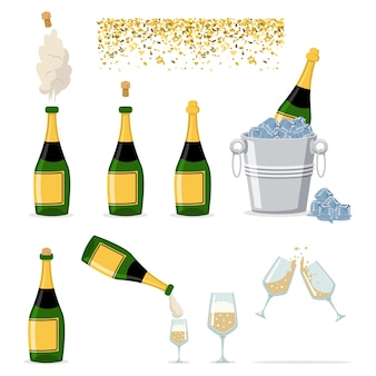 Set di icone di bottiglia di champagne